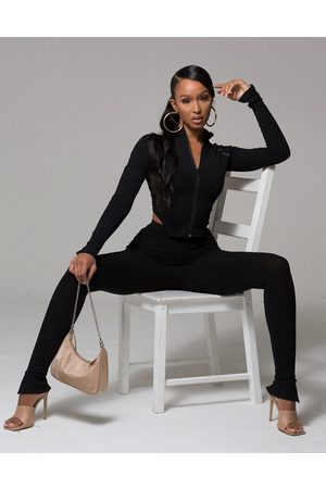 WMNSWear Plunge zip front long sleeve top and flared trouser co ord in black