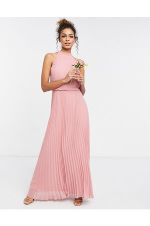 Oasis Bridesmaid high neck pleated maxi dress in pale pink
