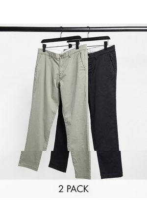Jack & Jones Muži Chino - Intelligence 2 pack slim tapered chino in dusty olive & black-Multi