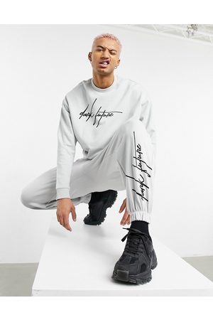ASOS Co-ord oversized joggers in grey with logo print
