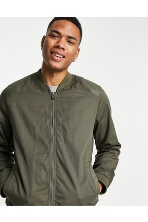 Bolongaro Twill bomber jacket with leatherette shoulders-Green