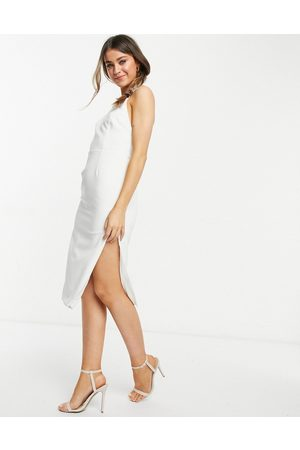 Bardot High neck backless midi dress with thigh split in ivory-White