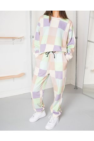 Daisy Street Relaxed joggers in patchwork pastel co-ord-Multi