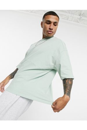 ASOS Oversized heavyweight brushed cut &sew t-shirt with chunky rib neck in green