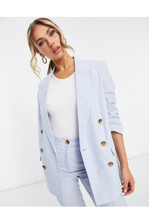 ASOS Ženy Saka - Clean double breasted linen suit blazer in blue