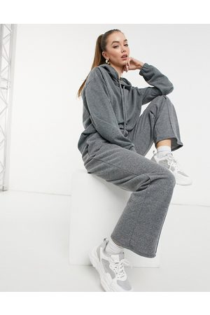 ASOS Ženy Mikiny - Acid wash tracksuit hoodie/ straight leg jogger in charcoal-Grey