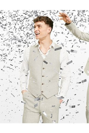 ASOS Wedding super skinny wool mix waistcoat in stone puppytooth