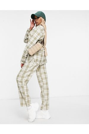 ASOS Ženy Společenské - Tapered dad suit trouser co-ord in golf check-Multi