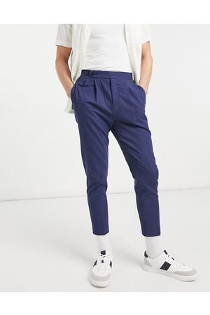 ASOS Muži Chino - Tapered smart trousers in navy crinkle cotton linen