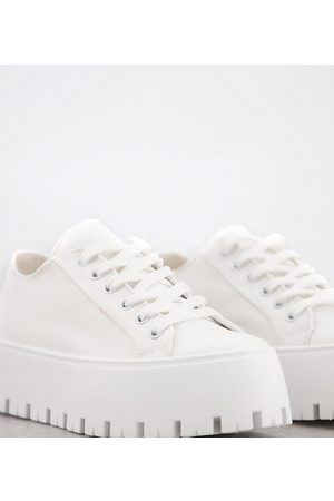 ASOS Ženy Tenisky - Wide Fit Devoted chunky canvas trainers in white