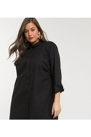 ASOS Ženy Volnočasové - ASOS DESIGN Curve cotton mini shirt dress in black