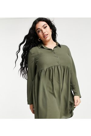 ASOS ASOS DESIGN Curve smock mini shirt dress in khaki-Green