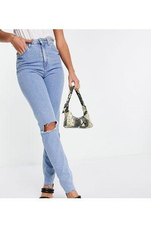 ASOS Ženy S vysokým pasem - ASOS DESIGN Tall high rise farleigh 'slim' mom jeans in lightwash with rips-Blue