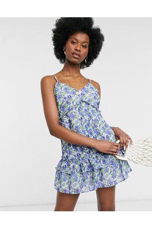River Island Floral mini beach dress in blue