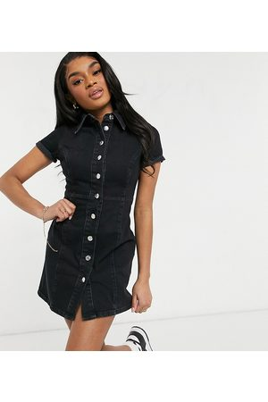 ASOS Ženy Přiléhavé - ASOS DESIGN Petite denim fitted shirt dress in washed black