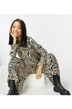 ASOS ASOS DESIGN petite button front relaxed jumpsuit in animal print-Multi