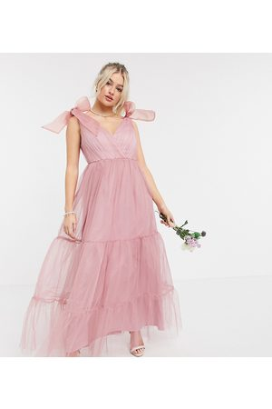 ASOS ASOS DESIGN Petite tulle bow tie tiered maxi dress in rose-Pink