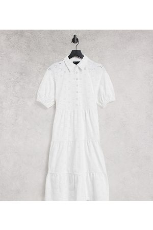 ASOS Ženy S krátkým rukávem - ASOS DESIGN Petite broderie midi tiered shirt dress with short sleeves in white