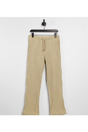COLLUSION Tepláky - Unisex wide leg joggers in jersey knit in tan co-ord