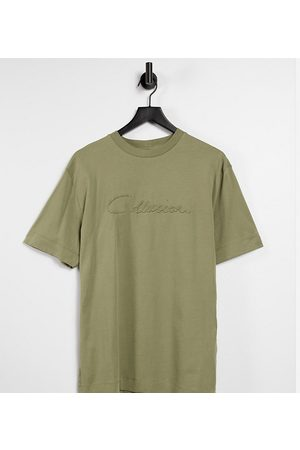 COLLUSION Unisex t-shirt with embroidered logo in khaki co-ord-Green