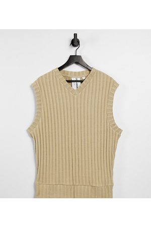 COLLUSION Vesty - Unisex oversized vest in jersey knit in tan co-ord