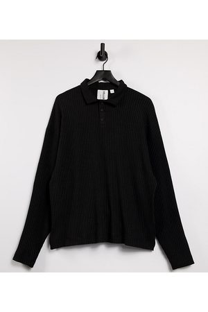 COLLUSION Oversized long sleeve polo in knitted jersey fabric in black