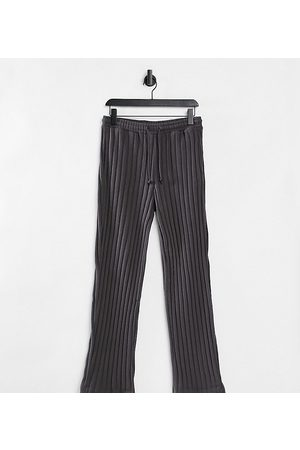 COLLUSION Tepláky - Unisex wide leg joggers in jersey knit in charcoal co-ord-Grey