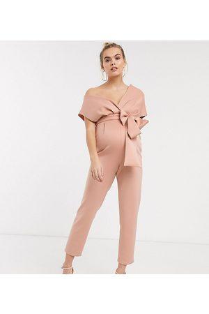 ASOS ASOS DESIGN maternity fallen shoulder scuba jumpsuit in blush-Brown