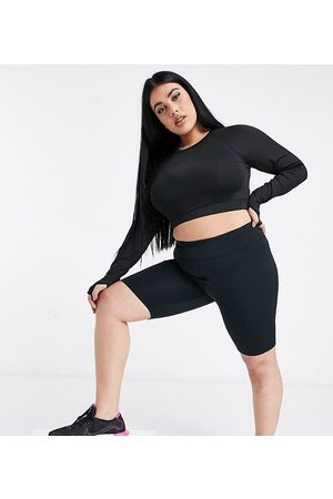 ASOS Curve icon booty legging short with bum sculpt detail-Black