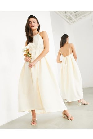 ASOS Ženy Na párty - Clementine halter wedding dress with pleat detail and low back-Pink