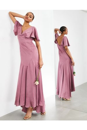 ASOS Satin maxi dress with flutter sleeve in orchid-Purple