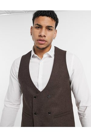 Harry Brown Muži Společenské vesty - Wedding wool mix slim fit double breasted shawl lapel waistcoat