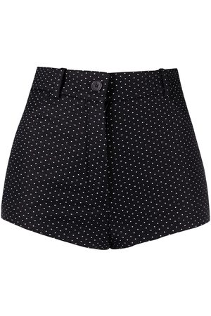 Saint Laurent Ženy Kraťasy - High-waisted polka dot denim shorts