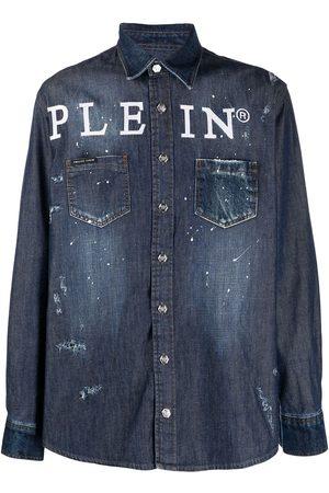 Philipp Plein Muži Džínové košile - Logo button-down denim shirt
