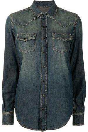 Saint Laurent Ženy Džínové košile - Press-stud denim shirt