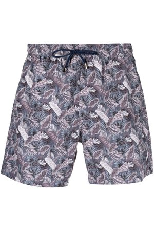 CANALI Leaf-print drawstring swim shorts