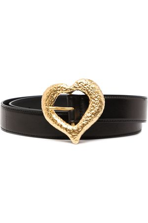 Saint Laurent Ženy Pásky - Grained heart-buckle leather belt