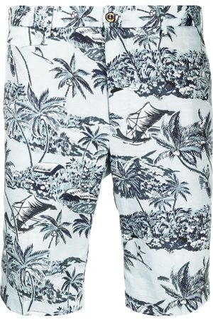 PT01 Muži Bermudy - Palm-tree print cotton shorts