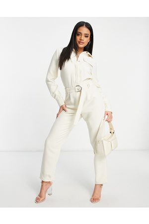 4th & Reckless Ženy Overaly dlouhé - Tie belt jumpsuit in cream