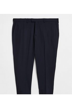ASOS Muži Chino - Plus skinny cropped smart trousers in navy