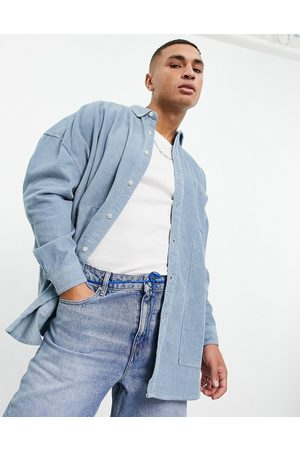 ASOS Muži Volnočasové - Co-ord extreme oversized cord shirt in blue