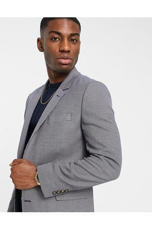 ASOS Slim suit jacket in grey birdseye-Brown