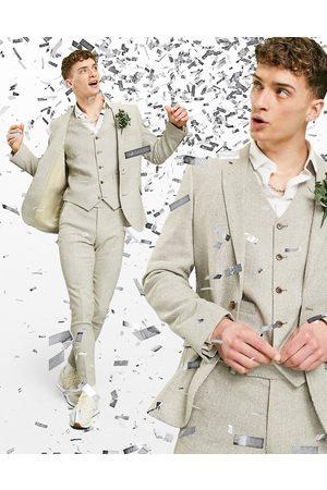 ASOS Muži Saka - Wedding super skinny wool mix suit jacket in stone puppytooth