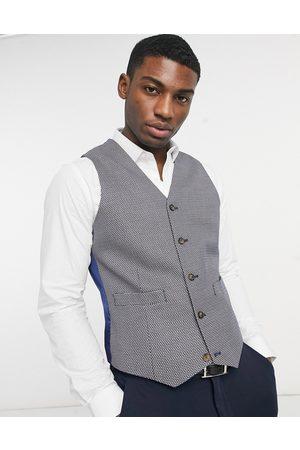 ASOS Muži Společenské vesty - Slim suit waistcoat in grey birdseye-Tan