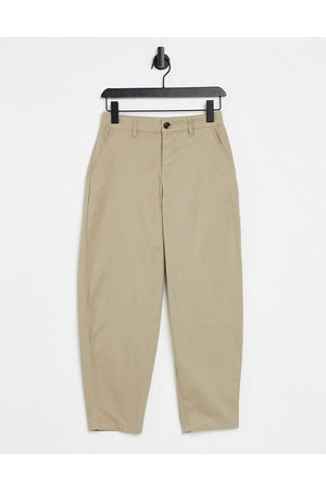 ASOS Muži Chino - Oversized tapered ankle grazer chino trousers in stone-Beige