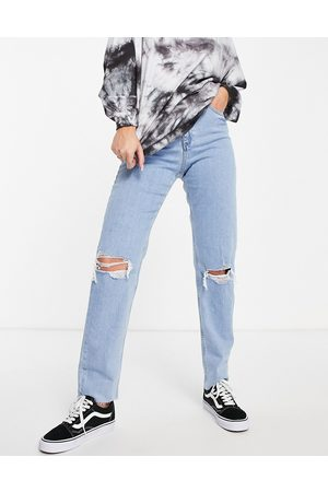 ASOS Ženy S vysokým pasem - High rise farleigh 'slim' mom jeans in lightwash with rips-Blue