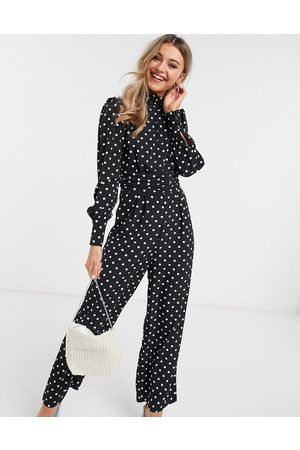 ASOS Ženy Overaly dlouhé - Ruched waist detail jumpsuit in spot print-Multi