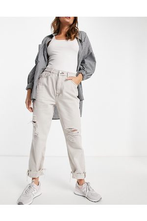 River Island Ženy Mom džíny - Ripped knee mom jeans in ecru-Cream