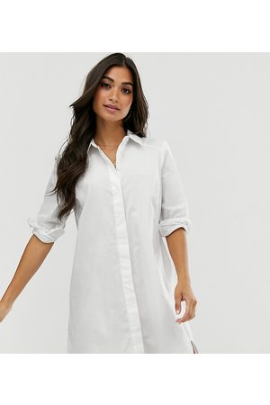 ASOS Ženy Volnočasové - ASOS DESIGN Petite cotton mini shirt dress in white