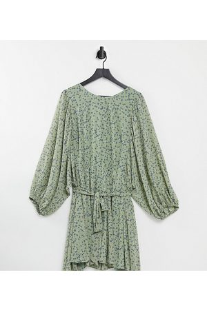 Forever New Ženy Volnočasové - Tie waist blouson sleeve mini dress in green ditsy floral-Multi